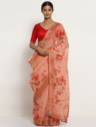 Peach-Red Printed Linen Saree with Zari and Tassels