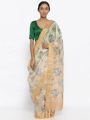 Ivory-Green Printed Linen Silk Saree with Zari
