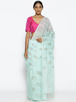 Turquoise-Green Printed Linen Silk Saree with Zari
