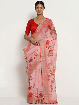 Pink-Red Printed Linen Saree with Zari and Tassels