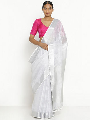 Silver Linen Tissue Saree with Zari and Tassels