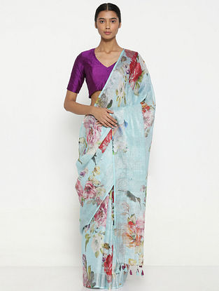 Turquoise-Red Printed Linen Saree with Zari