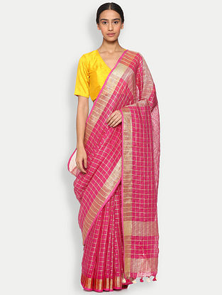 Pink Linen Saree with Zari and Tassels