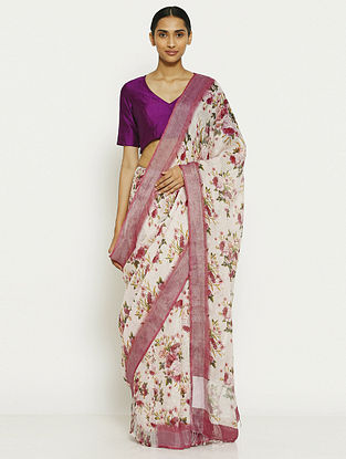 Off White-Purple Printed Linen Saree