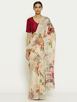 Cream-Red Printed Linen Saree