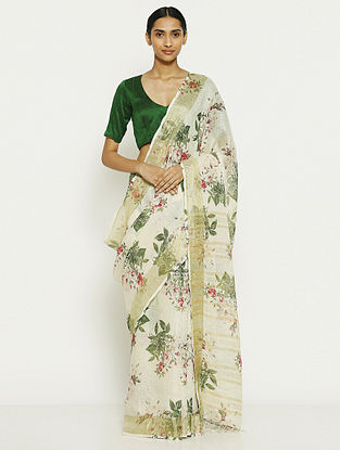 Ivory-Green Printed Linen Saree