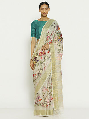 Ivory-Red Printed Linen Saree