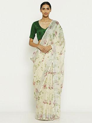 Ivory Printed Linen Saree