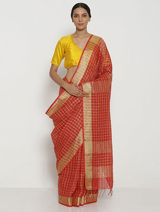 Red Printed Linen Saree