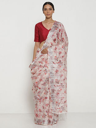 White-Red Printed Linen Saree