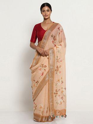 Beige Printed Linen Saree