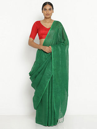 Green Printed Linen Saree