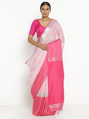 Ivory-Pink Printed Linen Saree