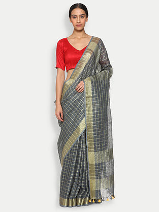 Grey Printed Linen Saree
