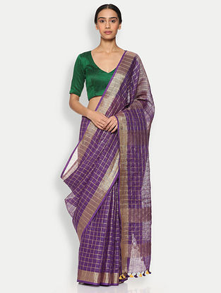 Purple Printed Linen Saree