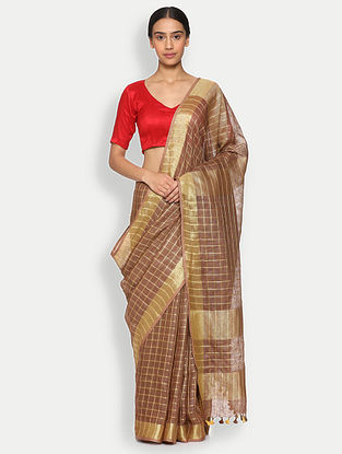 Brown Printed Linen Saree