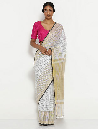 White-Beige Printed Linen Saree