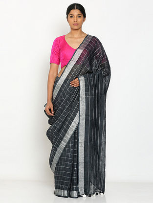 Black Printed Linen Saree