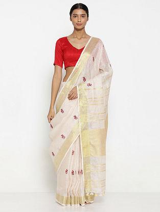 Pink Printed Linen Saree