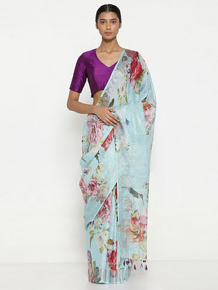 Turquoise-Red Printed Linen Saree