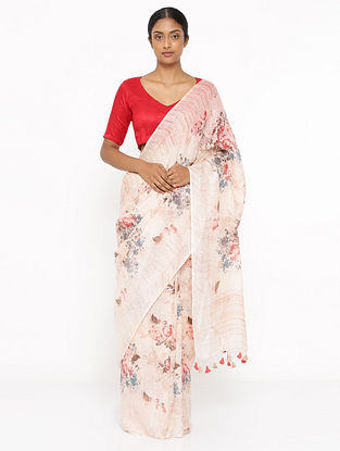 White-Orange Printed Linen Saree