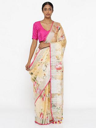 Beige-Pink Printed Linen Saree