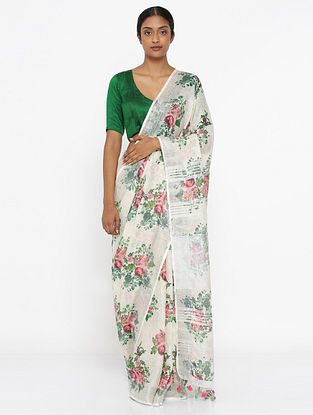 White-Green Printed Linen Saree