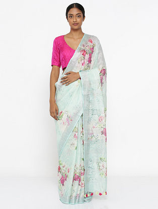 Turquoise-Purple Printed Linen Saree