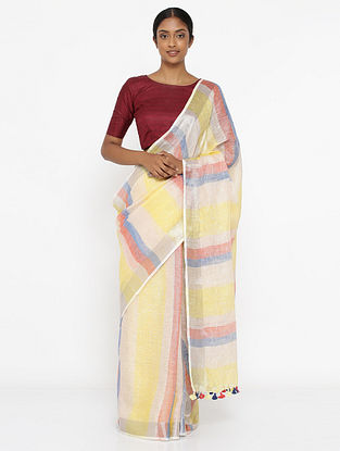 Multicolored Printed Linen Saree