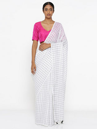 White-Black Printed Linen Saree