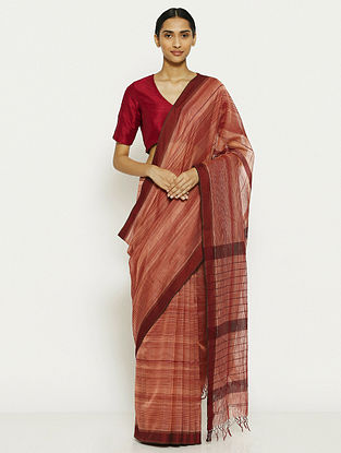 Red-Maroon Tissue Saree with Zari