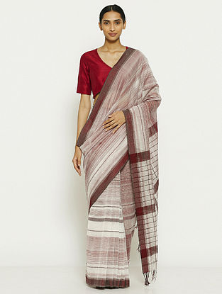 White-Maroon Tissue Saree with Zari