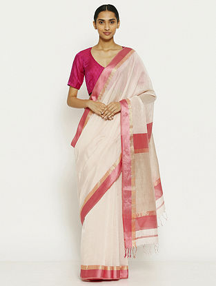 White Tissue Saree with Zari