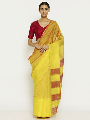 Yellow Tissue Saree with Zari