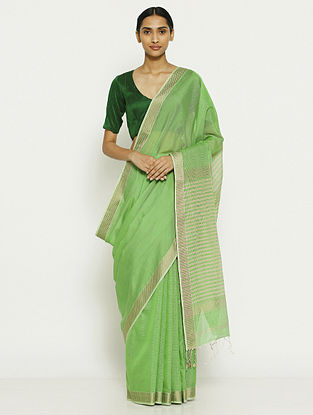 Green Tissue Saree with Zari