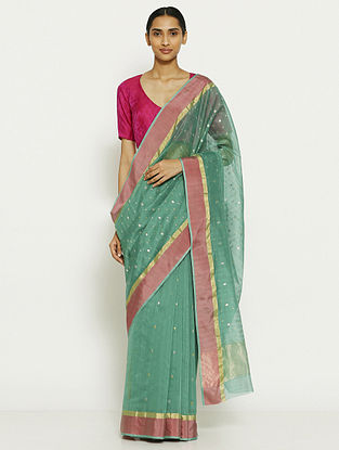 Green Silk Cotton Saree with Zari