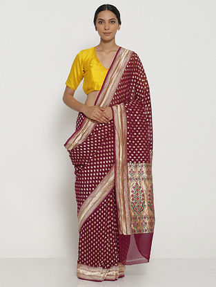 Purple Benarasi Georgette Saree with Zari