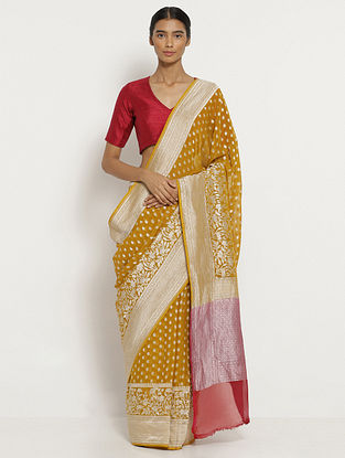 Mustard Benarasi Tussar Silk Saree with Zari