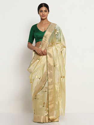 Cream Silk Saree with Zari