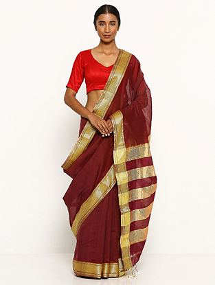 Red Silk Cotton Saree with Zari