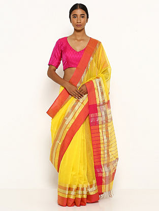 Yellow Silk Cotton Saree with Zari