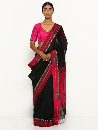 Black-Red Silk Cotton Saree with Zari