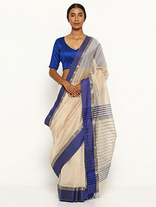 Beige-Blue Silk Cotton Saree with Zari