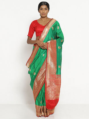 Green Benarasi Silk Saree with Zari