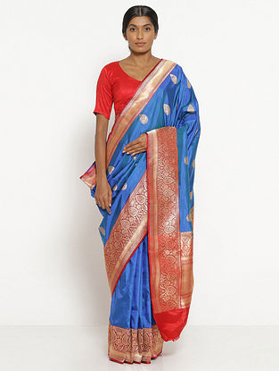 Blue Benarasi Silk Saree with Zari
