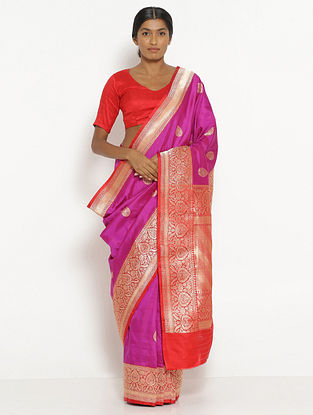 Purple Benarasi Silk Saree with Zari