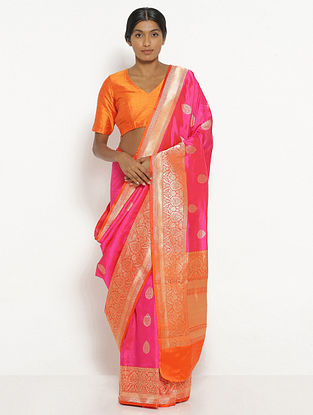 Pink Benarasi Silk Saree with Zari