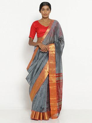 Grey Silk Cotton Saree with Zari