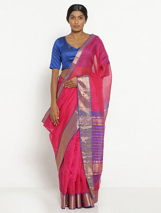 Pink Silk Cotton Saree with Zari
