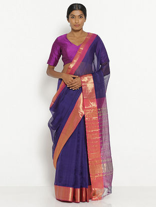 Purple Silk Cotton Saree with Zari